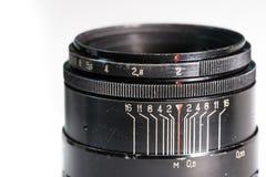 Slut för lins för tappningfotokamera upp visningöppning och avståndsskala Royaltyfria Foton