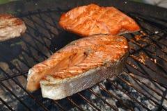 Slut för matlagning för galler för grillfest för laxfiskbiff upp royaltyfri foto