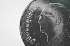 Slut för mynt för Thailand bahtmetall upp, monarkframsida thai valuta arkivbild