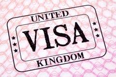 Slut för sida för pass för stämpel för invandring för UK-visumdokument upp fotografering för bildbyråer