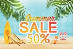 Slut för sommarförsäljningsrabatt av säsongbanret på härlig strandbakgrund för läge stock illustrationer
