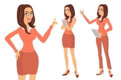 Slut som skjutas upp Unga kvinnor i elegant kontor beklär konstvektorn vektor illustrationer