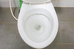 Slut som spolar upp toalettbunken för sanitärt Fotografering för Bildbyråer
