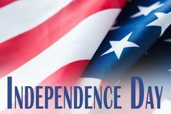 Slut upp av amerikanska flaggan på självständighetsdagen Royaltyfri Bild