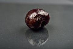 Slut upp av bilden av rutten röd körsbärsröd frukt på reflekterande svart Royaltyfria Bilder