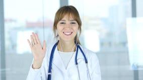 Slut upp av den kvinnliga doktorn som gör video pratstund, webcamsikt Royaltyfri Foto