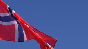 Slut upp av den norska flaggan lager videofilmer