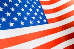 Slut upp av den pappersUSA flaggan, selektiv fokus på en stjärna Arkivfoto