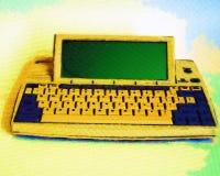 Slut upp av den Retro bärbara datoren Royaltyfri Foto