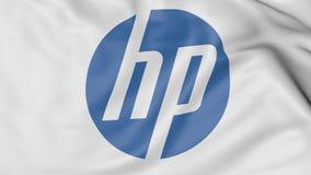 Slut upp av den vinkande flaggan med HP Inc logo tolkning 3D vektor illustrationer
