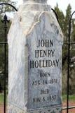 Slut upp av Doc Holliday Headstone Arkivbild