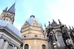 Slut upp av domkyrkan i Aachen, Tyskland Marienkirche Arkivbild