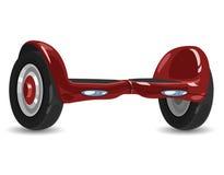 Slut upp av dubbelhjulsjälven som balanserar den smarta sparkcykeln för elkraft royaltyfri illustrationer