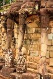 Slut upp av elefantstenar i Ankor Wat Arkivfoto