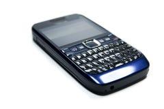 Slut upp av en gammalmodig mobil mobiltelefon med det nyckel- blocket, isolerat på vit bakgrund Royaltyfri Bild