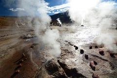 Slut upp av en geyser El Tatio Antofagasta region chile Royaltyfria Bilder