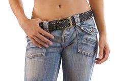 Slut upp av en kvinna i jeans Royaltyfria Foton
