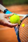 Slut upp av en tennisspelare Arkivbild