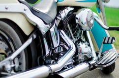 Slut upp av ett motorcykelavgasrör Arkivfoto
