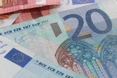 Slut upp av euro tjugo Arkivfoto