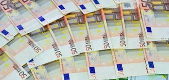 Slut upp av 50 euroräkningar Royaltyfria Foton