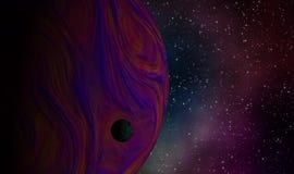 Slut upp av exoplanets i universumet Royaltyfri Foto