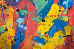 Slut upp av färgrik enkelt abstrakt målning Arkivbild