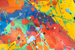 Slut upp av färgrik enkelt abstrakt målning Royaltyfri Fotografi