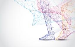 Slut upp av för benkörning för löpare s linjer för form och trianglar, punktförbindande nätverk på blå bakgrund stock illustrationer