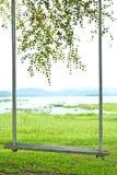 Slut upp av gunga på ett träd Arkivfoto