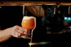 Slut upp av hällande öl för uppassarehand Fotografering för Bildbyråer