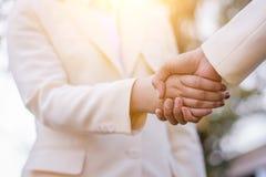 Slut upp av handskakningen på naturbakgrund Schacket figurerar bishops Fotografering för Bildbyråer