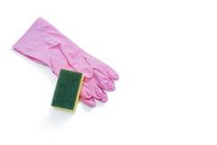 Slut upp av handskar med svampen Arkivfoton