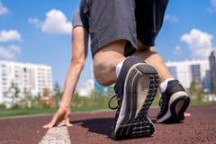 Slut upp av idrottsmannen på start fotografering för bildbyråer