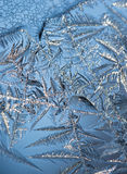 upp av iskristaller mot blå bakgrund Royaltyfri Fotografi
