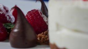 Slut upp av jordgubbe- och chokladspridning Chokladdroppe och jordgubbecloseup stock video