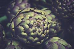 Slut upp av kronärtskockor för ny grönsak i italiensk bondemarknad Arkivfoto