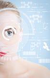 Slut upp av kvinnaögat med futuristisk design stock illustrationer