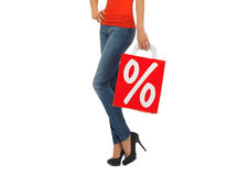 Slut upp av kvinnan med shoppingpåsen Royaltyfria Bilder