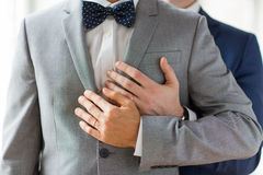 Slut upp av manliga glade par med vigselringar på royaltyfri foto