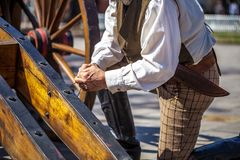 Slut upp av manuppklädden som den 19th århundradesoldaten för årsdagen av striden av Alamoen Royaltyfria Bilder