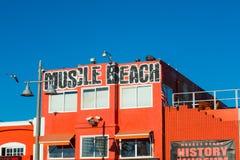 upp av muskelstrandbyggnad i den Venedig stranden Arkivfoton