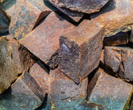 Slut upp av organiska bruna handgjorda tvålstänger Arkivfoton