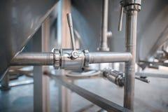 Slut upp av rör i vinfabrik Royaltyfri Fotografi