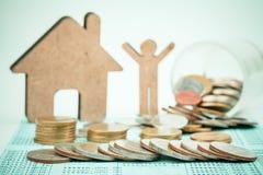 Slut upp av radmynt för finans Arkivfoton