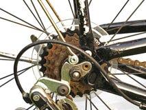 Slut upp av rostiga cykelkugghjul Arkivfoto