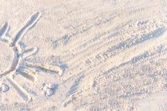 Slut upp av sandtextur (bakgrund) på en strand Arkivbilder