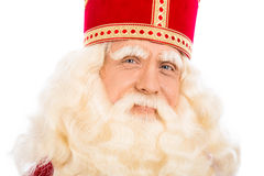 upp av Sinterklaas på vit bakgrund Royaltyfri Fotografi