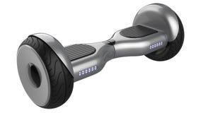 Slut upp av svävandebrädet, dubbelhjulsjälv som balanserar den smarta mini- sparkcykeln för elkraft, metallisk målad grå färg tol royaltyfri illustrationer