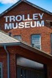 Slut upp av tecknet för spårvagnmuseumvägg royaltyfria bilder